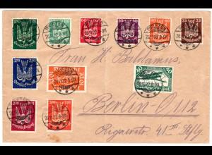 Infla-Satzbrief mit den Flugpostmarken u.a. 210-218