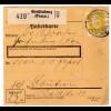 80 Pfg. Hindenburg als EF auf Paketkarte