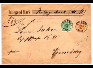 Krone/Adler 5 und 25 Pfg. auf Wertbrief