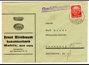 Reklameumschlag: Birnbaum - Backschüsselfabrik