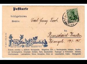 Reklamekarte: Hirschgeweihe, Rehgehörne, Leopardenfelle...