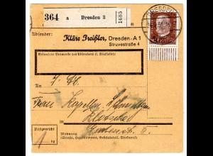 Paketkarte mit EF 50 Pfg. Hindenburg vom Unterrand