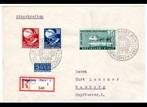 Frz. Zone/Rheinl-Pf.: R-Brief mit UPU und TdBrfm.