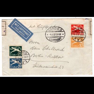 Danzig: Luftpostbrief 1937 nach Berlin; zensiert