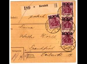 DR/Infla: Paketkarte mit 4x 157II - reine MeF, gepr.