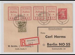 Lokalausgabe Strausberg Einschreib-Karte mit u.a. 34-37B