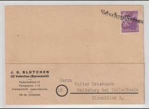 Notstempel Vetschau auf Bärenbrief