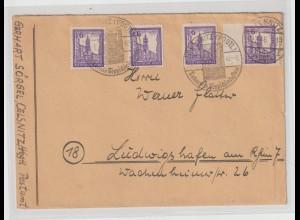 Westsachsen 4x 6 Pfennig Abschied auf Fernbrief