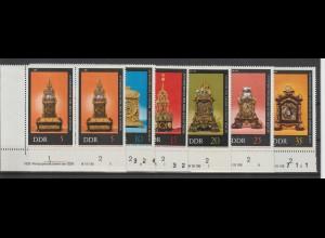 DDR, Historische Uhren mit DV, postfrisch