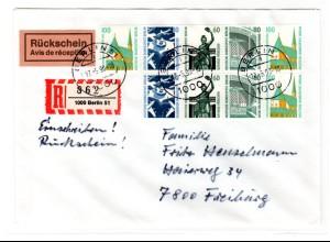 Berlin: Hbl. 23 auf R-Brief mit Rückschein nach Freiburg