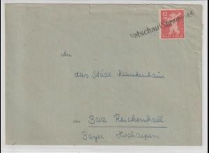 Notstempel Vetschau (Spreewald) auf Bären-Bedarfsbrief