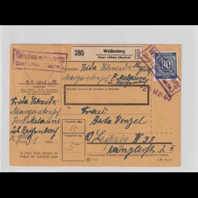 Notstempel Weissenberg über Löbau auf Paketkarte; Nr. 935 EF