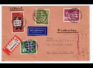 Berlin: 3 DM Kongresshalle u.a. auf portorichtigem R-Brief Hildesheim - New York