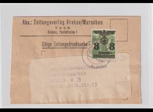 Generalgouvernement: Zeitungsstreifband mit EF 20