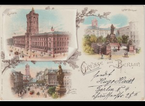 Berlin / Litho Luther-Denkmal, Rotes Rathaus