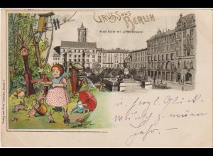 Berlin / Litho Neuer Markt mit Luther-Denkmal