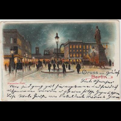 Berlin / Litho Alexanderplatz bei Nacht