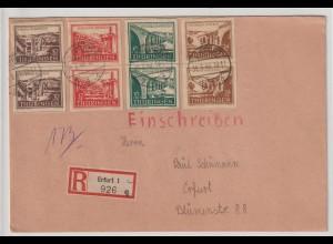 Thüringen Einschreib-Ersttags-Brief mit 112-115 in senkr. Paaren