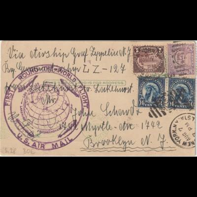 Zeppelin-Brief Weltrundfahrt Amerikanische Post
