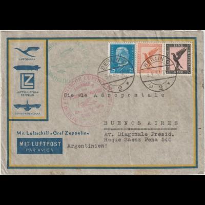 Zeppelin-Brief Südamerikafahrt 1932 und Anschlussflug