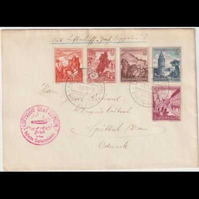 Zeppelin-Brief Fahrt ins Sudetenland; frankiert mit Winterhilfswerk