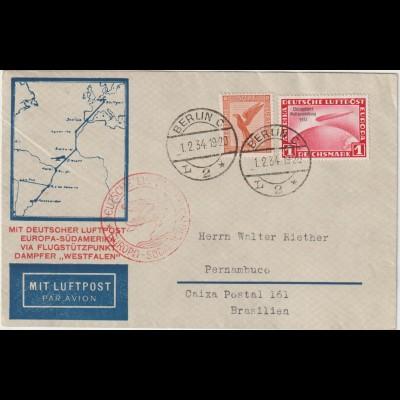 Luftpost-Brief mit 1 Mark Chicagofahrt