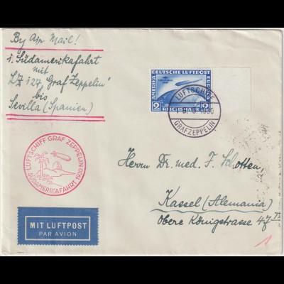 Zeppelin-Brief Südamerikafahrt 1932 bis Sevilla