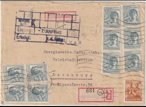 10-fach-Frankatur (30x24, 10x12 Pfg.); Einschreib-Firmenbrief