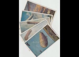 5 Zeppelin-Karten nach Gemälden