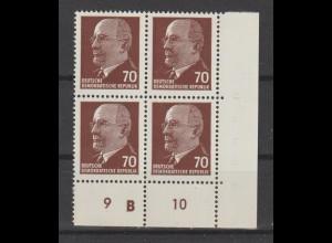 Ulbricht,70 Pfg. xI UR2 DKZ im Viererblock ** (Mi. 240,00 €), gepr.