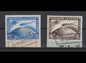 DR; Südamerikafahrt 2 und 4 Mark auf Briefstücken mit Y-Wasserzeichen; Attest