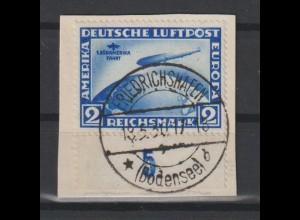 """DR; Südamerikafahrt 2 Mark auf Briefstück mit PF II (""""Mond""""); Attest"""
