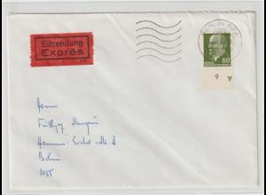 Ulbricht 60 Pfg. Unterrand-DKZ portorichtig auf Express-Brief