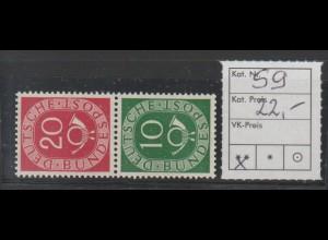 Posthorn-Zusammendruck S9, postfrisch (**, MNH)