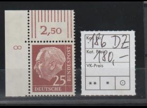 """Heuß 25 Pfennig mit DZ """"8"""", postfrisch (**, MNH)"""