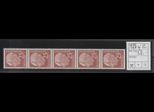 Heuß 25 Pfennig Rollenmarke 5er-Streifen