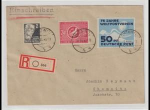 DDR: UPU-Marke auf gelaufenem Ersttagsbrief; Befund