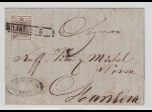 Lombardei & Venetien: Brief mit 4X von Milano nach Mantova