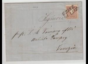 Lombardei & Venetien: Brief mit 10II vonUdine nah Venedig, 1859