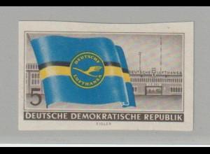 DDR: 5 Pfennig Lufthansa als ungez. Probedruck; Befund Mayer
