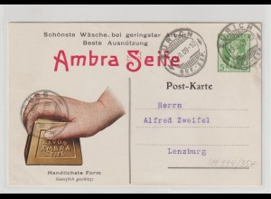 """Schweiz: Privat-Ganzsache mit Werbung """"Ambra-Seife"""", 1909"""