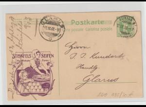 """Schweiz: Privat-Ganzsache mit Werbung """"Steinfels-Seifen"""", 1908"""
