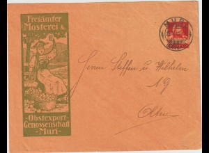 """Schweiz: Privat-Ganzsachenumschlag """"Freiämter Mosterei"""", 1915"""