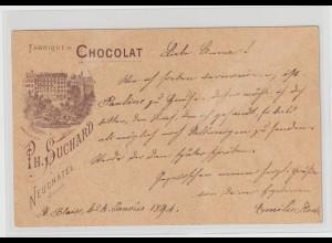 """Schweiz: Ganzsache mit priv. Werbezudruck """"Suchard-Schokolade"""", 1891"""