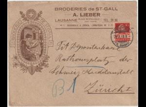 """Schweiz: Reklameumschlag """"Broderies de St. Gall"""""""
