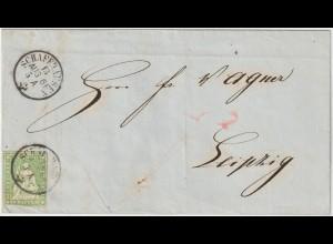 Schweiz: Brief von Schaffhausen nach Leipzig, 1861