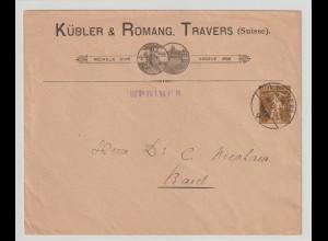 """Schweiz: Privatganzsachen-Umschlag """"Kübler & Romang, Travers"""", 1910"""