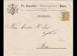 """Schweiz: Privatganzsachen-Umschlag """"Stauffer, Hutmacher, Bern"""", 1908"""