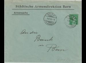 """Schweiz: Privatganzsachen-Umschlag """"Städt. Armendirektion Bern"""", 1911"""