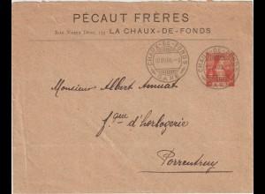 """Schweiz: Privatganzsachen-Umschlag """"Pecaut Freres"""", 1908"""